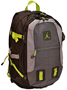 Nike Air Jordan 15 Inch Laptop Backpack with Shoe Compartment in Black, Gray and Green