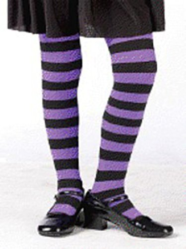 Child Purple and Black Striped Tights size 7-10