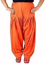 Tinnu G Women's Cotton Patiala Salwar (TGCS1201_Orange_Free Size)
