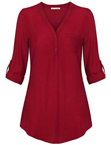 Messic Womens V-Neck Blouses Roll Up 2/3 Cuffed Sleeve 50 Dress Button Down Casual Knitted Shirt,Red XX-Large