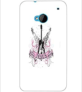 PrintDhaba Guitar D-5533 Back Case Cover for HTC ONE M7 (Multi-Coloured)