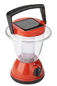 "Solar Powered Camping Lantern. 6.3"" tall, small size and red color."