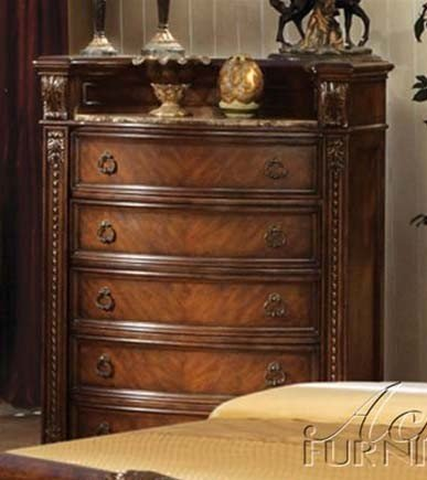 Acme 10316 Chest With Marble Top, Dark Cherry Finish front-1012086