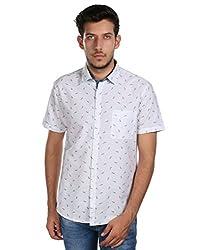 Oxemberg Men's Printed Casual 100% Cotton White Shirt