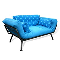 Hot Sale American Furniture Alliance Modern Loft Collection Futon Mali Flex Combo, Aqua Polka Dot