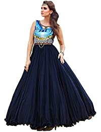 Designer Blue ROW SILK Digital Printed Party Wear Gown