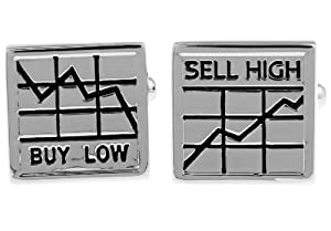 LBFEEL Classic Stockbroker Cufflinks for Mens Jewelry the Sell High Buy Low Design One Pair with Box