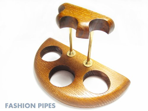 New Wooden Pipe Stand Rack Holder for 3 Tobacco Pipes - Smoking Pipe. Handcrafted