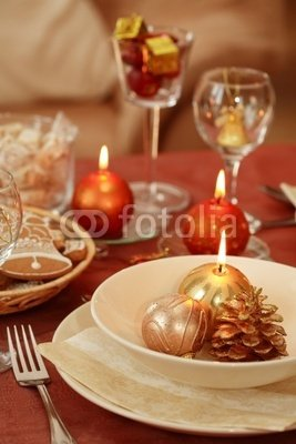 Wallmonkeys Peel and Stick Wall Decals - Festive Table Setting - 72