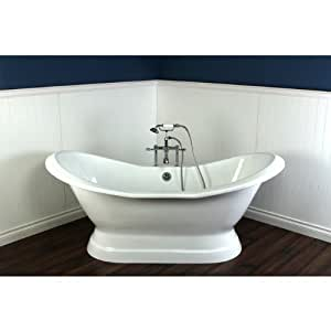 72 cast iron double slipper freestanding bathtub chrome