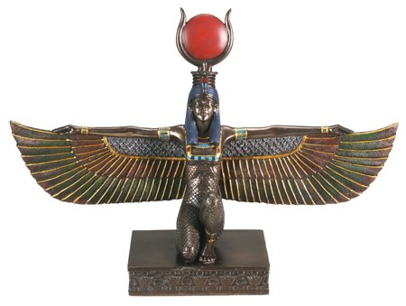 Ancient Egyptian Goddess Isis with Open Wings, Real Bronze Powder Cast Statue