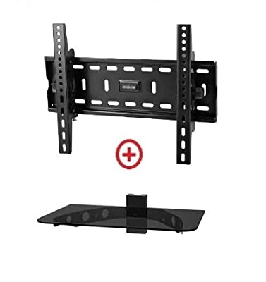 Low Profile Ultra-Slim Black Adjustable Tilt//Tilting Wall Mount Bracket for Sony Bravia KDL-32BX420 32 inch LCD HDTV TV//Television