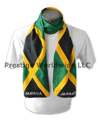 "Jamaican Flag Print Scarf 64""x8"" One Size Fits All Jamaica Reggae"