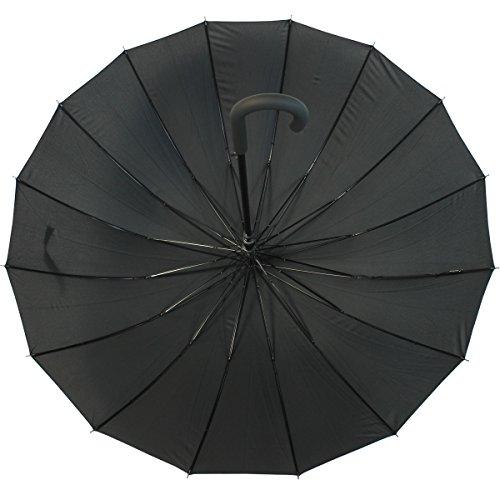 iX-brella long - hochwertiger Stockschirm 16-teilig mit Automatik - sturmsicher - schwarz -