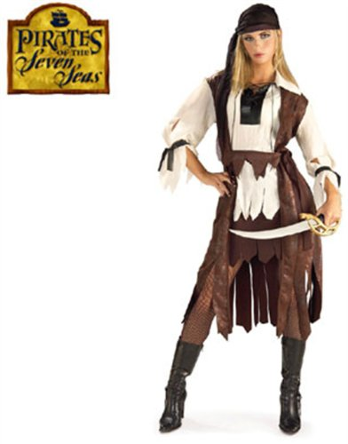 New Adults Sexy Caribbean Pirate Girl Costume Large 12