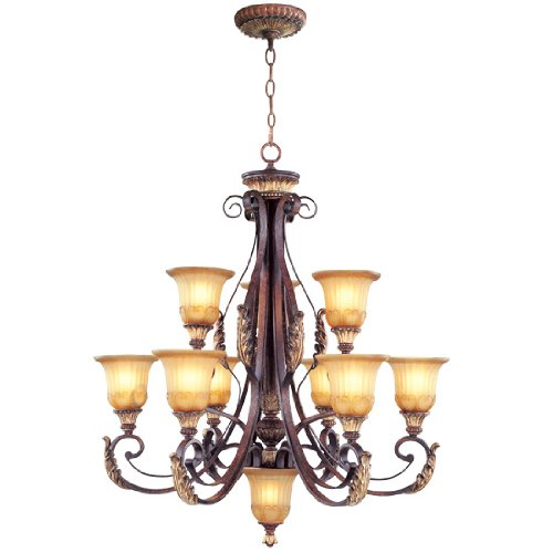B00563ZPN8 Livex Lighting 8579-63 Villa Verona 9 Light Two Tier (6+3) Verona Bronze Finish Flush Mount with Aged Gold Leaf Accents and Rustic Art Glass