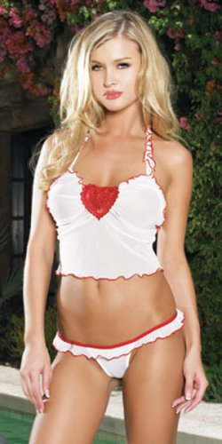2Pc Mesh Ruffle Trim Halter Crop Top With Embroidered Heart Applique And Thong
