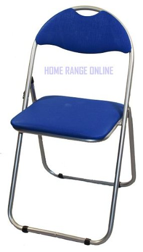 ALUMINIUM FRAME BLUE SOFT PADDED FOLDING CHAIR SEAT