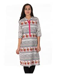 Dorabella Off White Printed Cotton Kurti