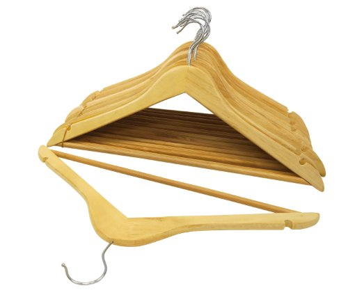 Florida Brands Suit Hangers, Natural Wood, Set of 24