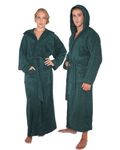 Women's and Men's Hooded Full Ankle Length Bathrobe [Style Pacific] - 100% Cotton, Hunter Green, Large