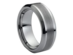 Tungsten Carbide 8 mm (5/16 in) Comfort Fit Flat Wedding Band Ring w/ Brushed Center & Beveled Edge (Available in Sizes 8 to 11) size 11