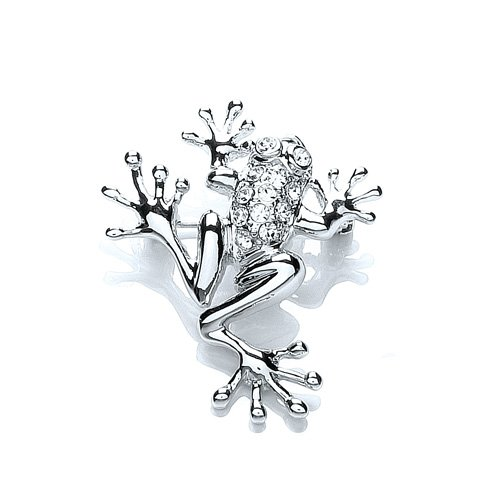 Rhodium Plated Swaroski Crystal Frog Brooch