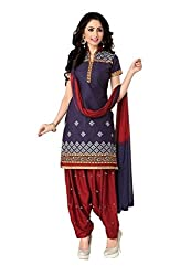 Pandadi Creation Women's Cotton Blue Color Dress Material with Naznin Dupatta ( Rs. 50 Off )