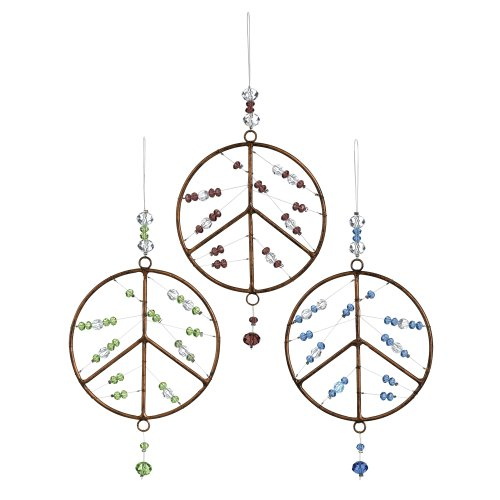 Grasslands Road Hanging Peace Sign Assortment, 9-Inch, Bronze, 6-Pack