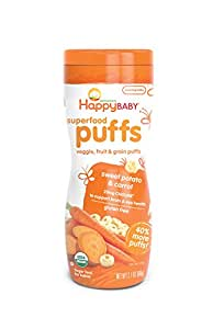 Happy Baby Organic Superfood Puffs, Sweet Potato & Carrot, 2.1 Ounce (Pack of 6)