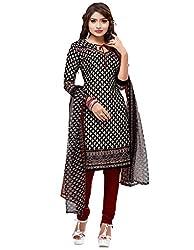 SareeShop Women's Georgette Semi-Stitched Dress Material (B2B3011_Black_Free Size)