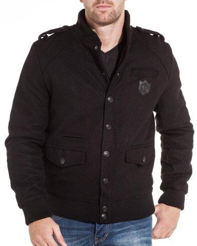 Gov denim - Reefer jacket and black man fashion trend - Color: Black Size: XXL