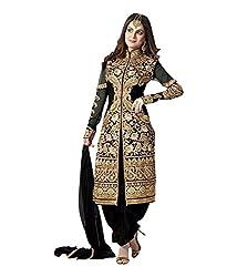 Zbuy Black Georgette Embroidered Unstitched Salwar Suit Dress Material