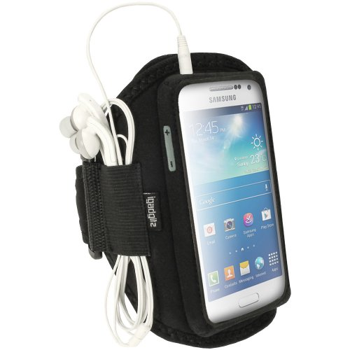 Igadgitz Water Resistant Black Sports Jogging Gym Armband For Samsung Galaxy S4 Siv Mini I9190 I9195