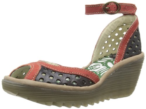 Fly London Womens Ydel Perf Fashion Sandals P500477005 Black/Cherry/Light Grey 3 UK, 36 EU