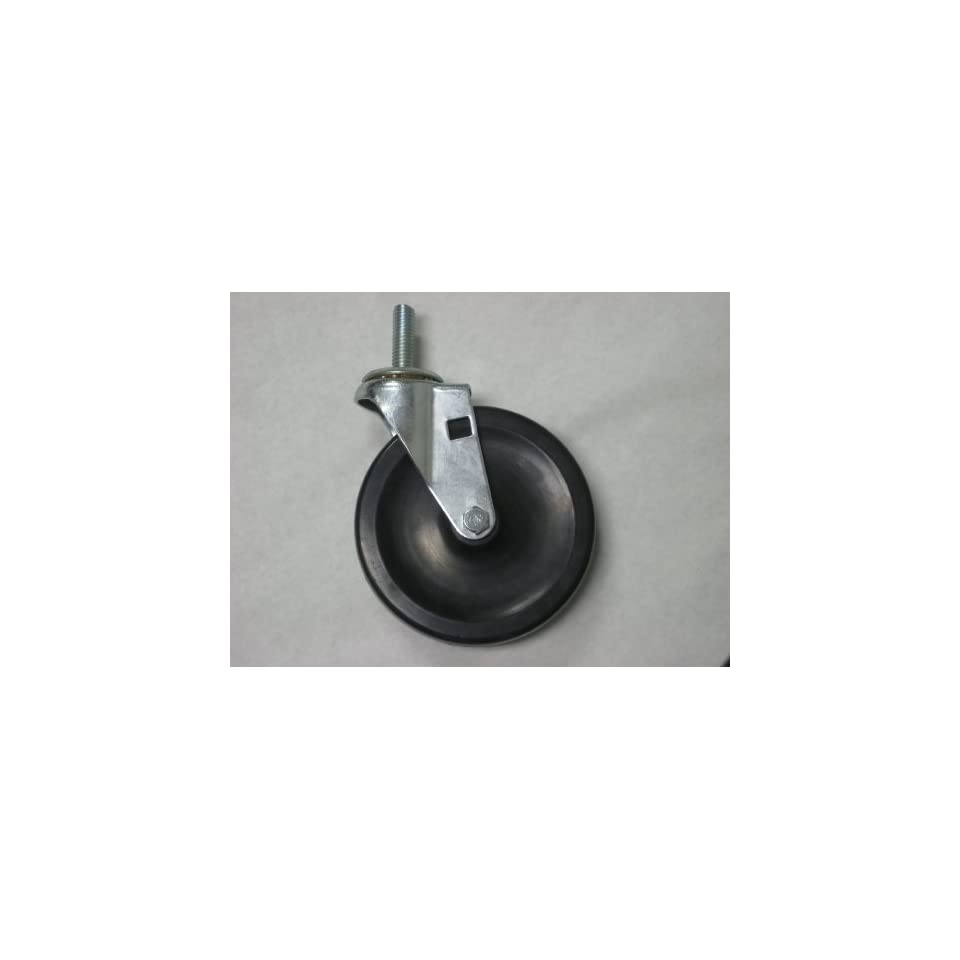 Swivel caster, 4 diameter x 15/16 wide soft rubber wheel with self lube bearing. 1/2 13 x 1 1/2 threaded stem. 125 pound load capacity.