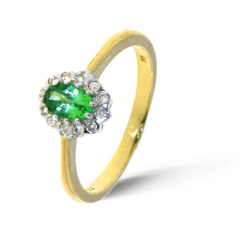 Stylish 9 ct Gold Ladies Solitaire Engagement Diamond Ring Brilliant Cut 0.10 Carat with Tsavorite