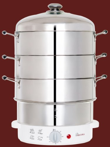 Secura 3-Tier 6-Quart Stainless Steel Electric Food Cooker Rice Steamer, W/ Steam360 Technology S-324 Size: 6-Quart Home & Kitchen front-481193