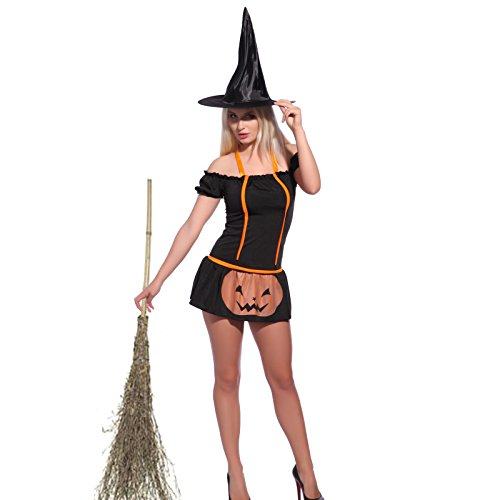 Sexy Women Gothic Witch Costume Halloween HEN Night Party Fancy Dress up + Hat