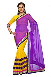 Anvi Yellow and Purple faux georgette designer saree with unstitched blouse (1539)