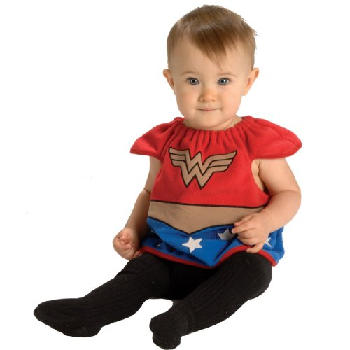 Justice League Deluxe Bib Wonder Woman, Wonder Woman Print, Newborn 0-9 One Size Costume
