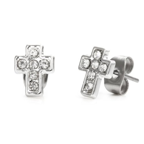 Sparkling Cross Stainless Steel Cubic Zirconia Mens Stud Earrings (Silver)