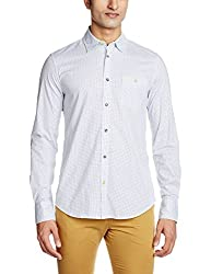 GAS Men's Casual Shirt (8056775004349_85009989_Medium_White and Blue)