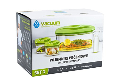 #1 Dafi Food Storage Vacuum Containers – With Hand Vacuum Pump – Silicone Gasket, BPA Free (3 Piece Set)