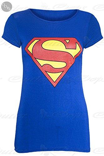 Be Jealous - Canotta -  donna Superman Flügelärmel T-shirt Blau - Angepasst 40