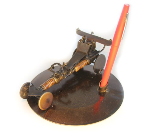 Recycled Tin Racing Car (Pen Holder) model made from Spark Plugs - Fair trade from Mexico