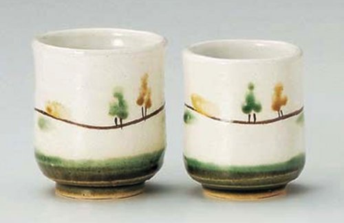 Kobiki-Fuukei 3Inches Set Of 2 Pair Of Teacups Tohki Japanese Pottery