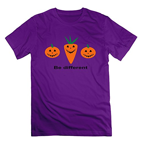 Men's Halloween Pumpkin And Carot Short Sleeve T-Shirt Purple L (Cartman Voice Changer)