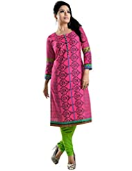 Casual Wear Printed Kurti In Pink Color- 1730