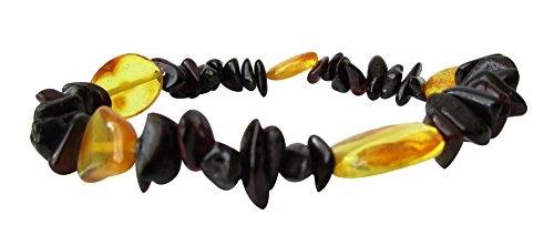 Baltic Amber Adult Stretchable Bracelet Anklet Unisex ABB23 Mix Cherry and Lemon Colour 19cm Polished Chips Beads By Amber Corner - 1